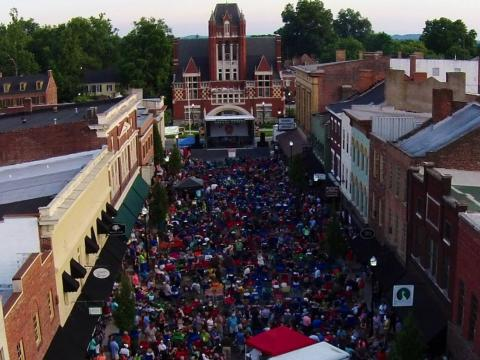 A festive gathering in downtown Bardstown for the Bourbon City Street Concert