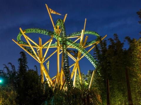 A nighttime view of the Cheetah Hunt rollercoaster at Busch Gardens Tampa Bay