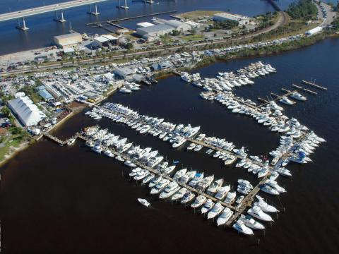 Aerial view of the Stuart Boat Show in Florida