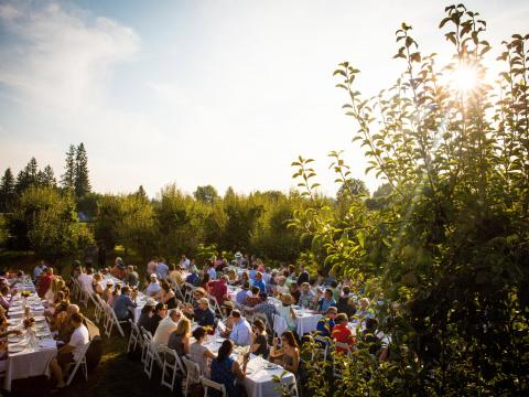 A farm-to-table dinner at Smith Berry Barn in Hillsboro, Oregon
