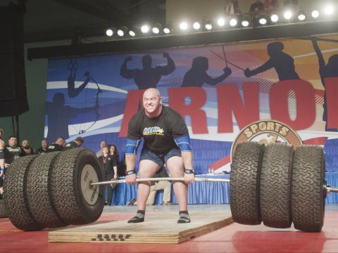 Weightlifting competition during the Arnold Sports Festival in Columbus, Ohio